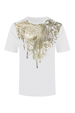 NEW Men Gold Silver Foil Bald Eagle Paint Splattered Shirt Sizes S-2XL Feathers