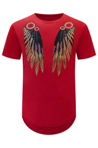 New Embroider Indian Feathers T-Shirt
