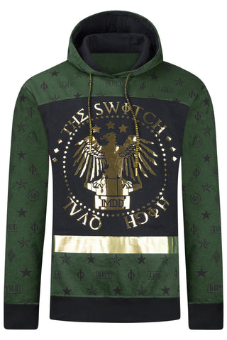 New Men Hooded Eagle Printed Embossed Sweater