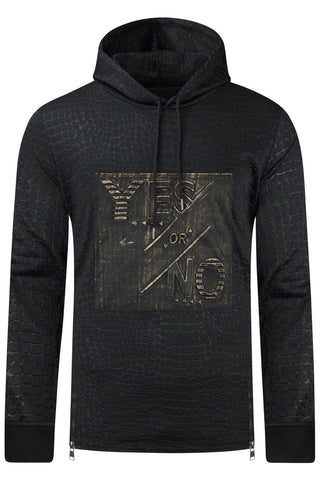 New Men Yes Or No Hooded Scales Sweater