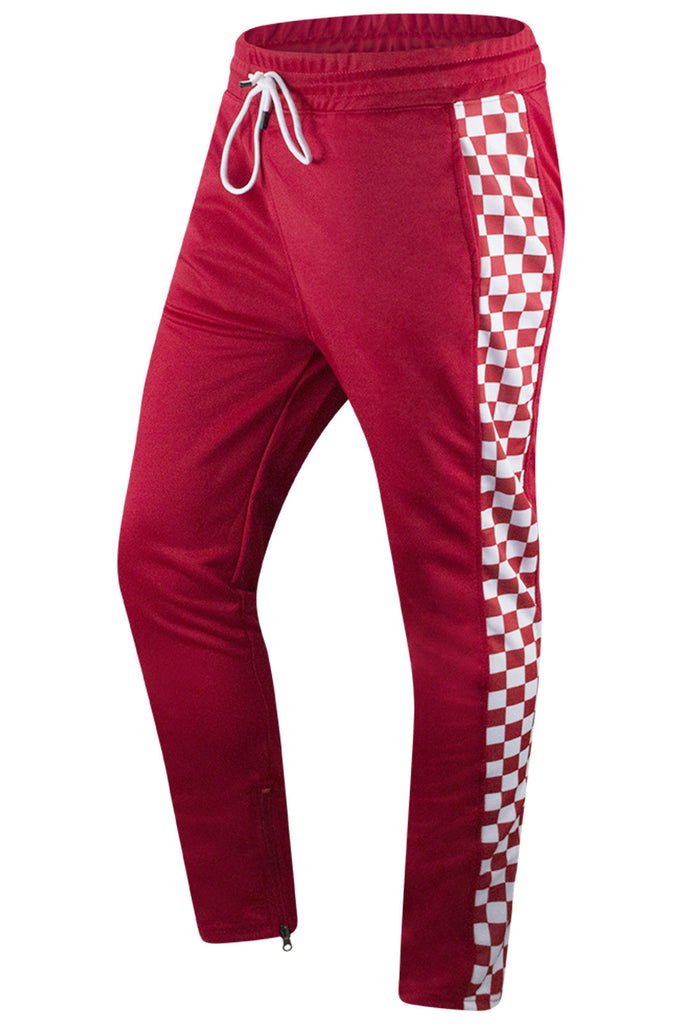 New Men Checkered Track Pants Slim Fit