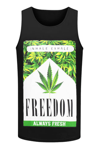 NEW Men Weed Tank Top Marijuana Cigarette Pack Sleeveless Black White Sizes M-3X
