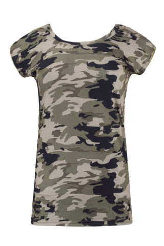 NEW Women Camo Shirt Side Zipper Short Sleeve Ladies Short Sleeve Size S-2XL