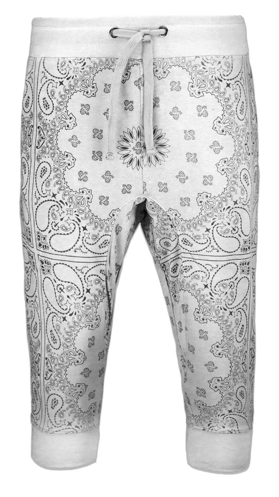NEW Men Caprice Capri French Terry Joggers Shorts Bandana Print