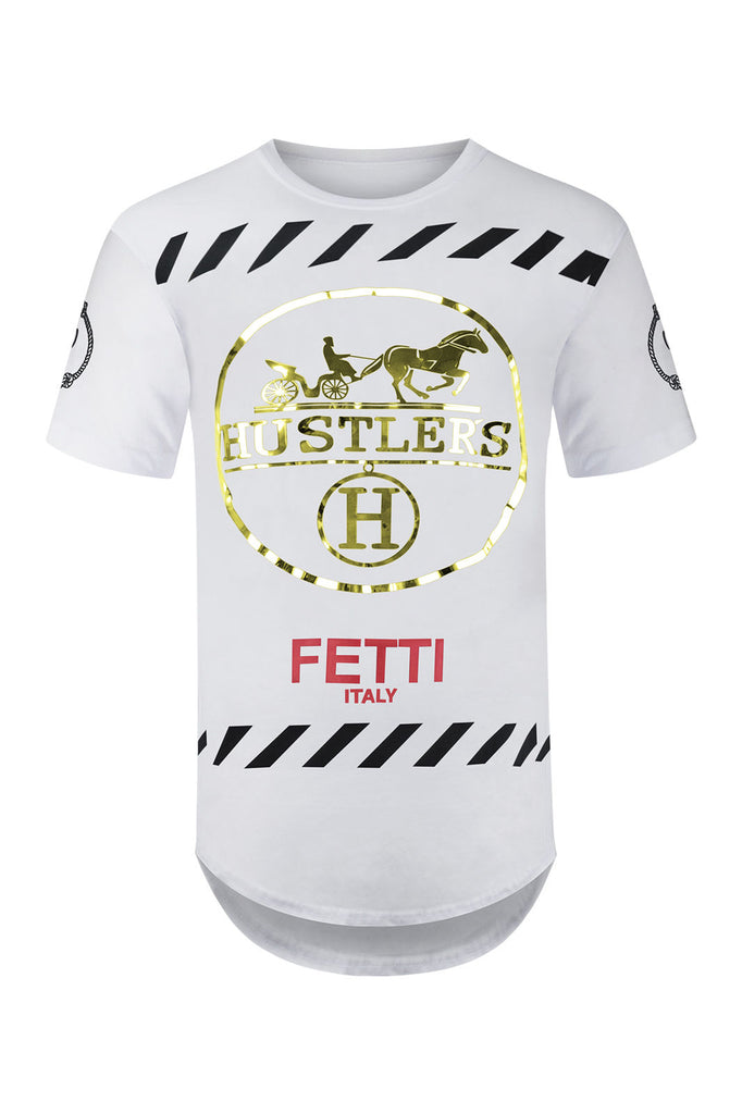 NEW Men Hustler Shirt Graphic Gold Foil Side Zipper White Black Sizes S-XL