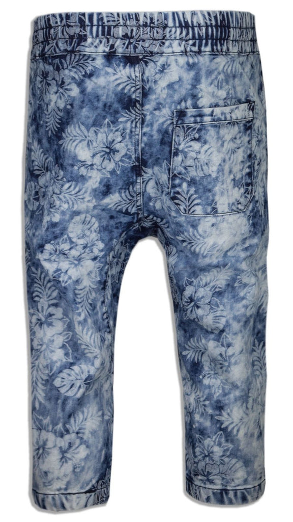 NEW Men Caprice Capri French Terry Joggers Shorts Floral Print ALL SIZES Crop