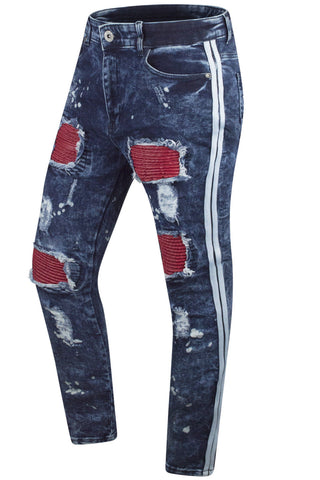 NEW Men Denim Ripped PU Biker Jeans Slim Fit
