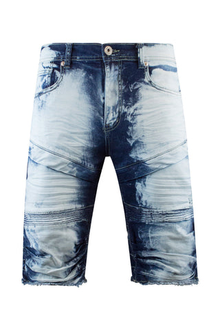 New Men Ripped Denim Biker Shorts Stacked BLUE Ripped
