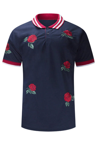 New Men Polo Rose Print