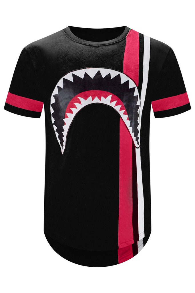 New Men Shark Mouth Logo Striped Longline T-Shirt