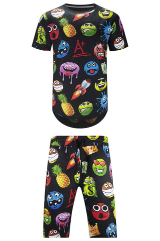 New Men Matching Set Emoji T-Shirt & Shorts