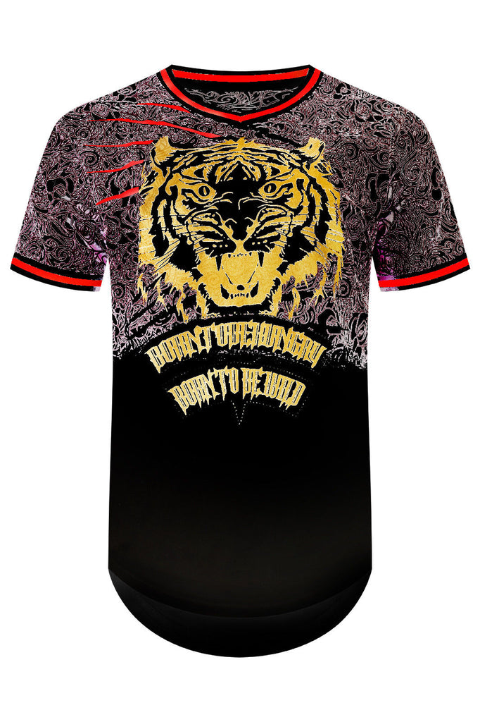 New Men Tiger Gold Printed T-Shirt