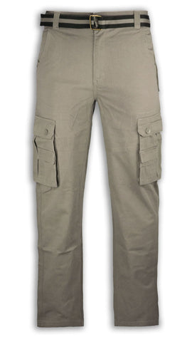 NEW Men Twill Cargo Pants FREE BELT Relaxed Fit Loose Pant ALL MEN SIZES