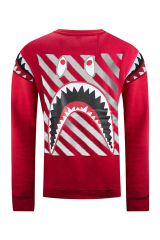 NEW Men Long Sleeve Shark Teeth Print Crewneck Sweater Pullover Sizes M-3XL