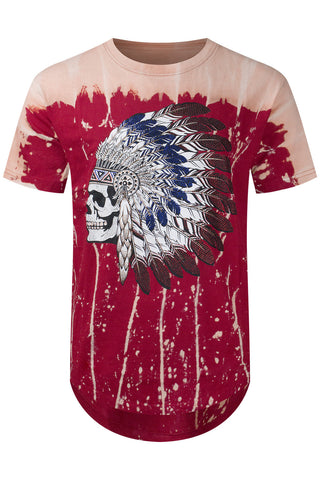 New Men Chief Skeleton Tye Dye T-Shirt