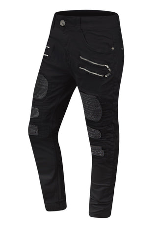 NEW Men Biker Denim Jeans PU Stacked Pants Double Needle Sizes 30-38 Black White