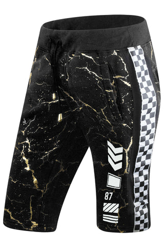 Gold Splattered Racing Flece Shorts
