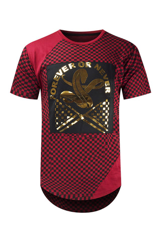 NEW Men T-Shirt Longline Tailed Cobra Checkered Tee Racing Stripes Flag S-XL