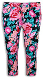 NEW Girl Junior Caprice Pants Short Pants Floral Print Flowers ALL SIZES Stretch