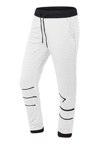 Quilted Joggers Pants W/Zipper Knees