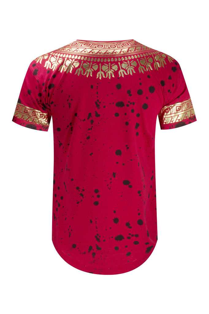 NEW Men Paint Splattered Shirt Gold Foil AFRICAN DASHIKI GRAPHIC Sizes M-2XL