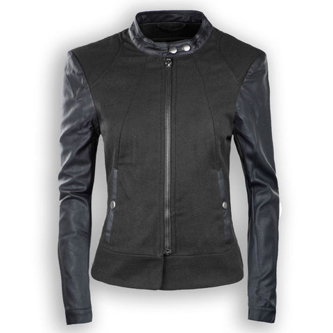 NEW Women Black Charcoal Wine Zip Up Jacket Leather Sleeves Two Tone All Sizes