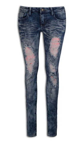 NEW Women Denim Blue Pink Laced Ripped Distressed Jeans Pants ALL SIZES