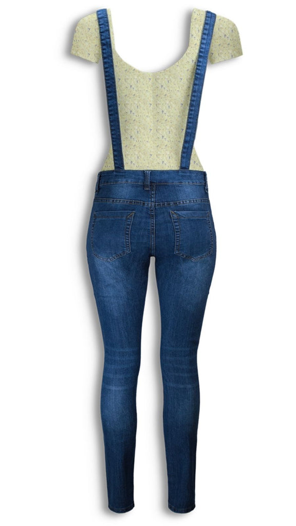 NEW Women Denim Overalls Jean  Pants Ripped Distressed Button Torso 5 Pocket S-L