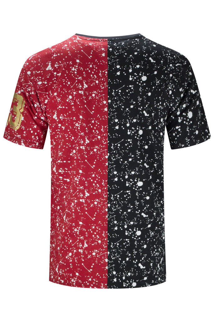 New Men 2 Tone Bulls Paint Splattered T-Shirt