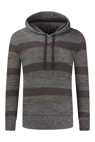 New Men Woven Hooded Striped Sweater