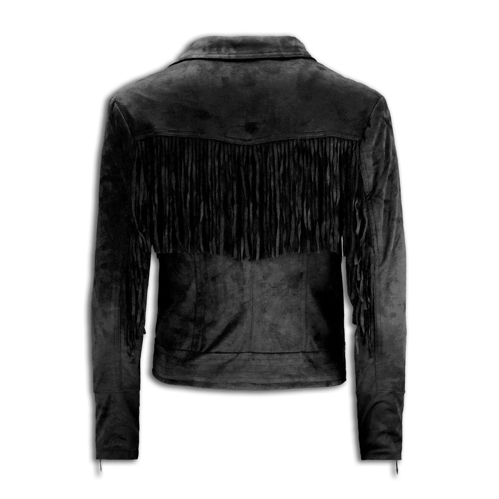 NEW Women Fringe Cropped Slim Fit Jacket Zip UP Suede Black Tan M-XL Luxury Top