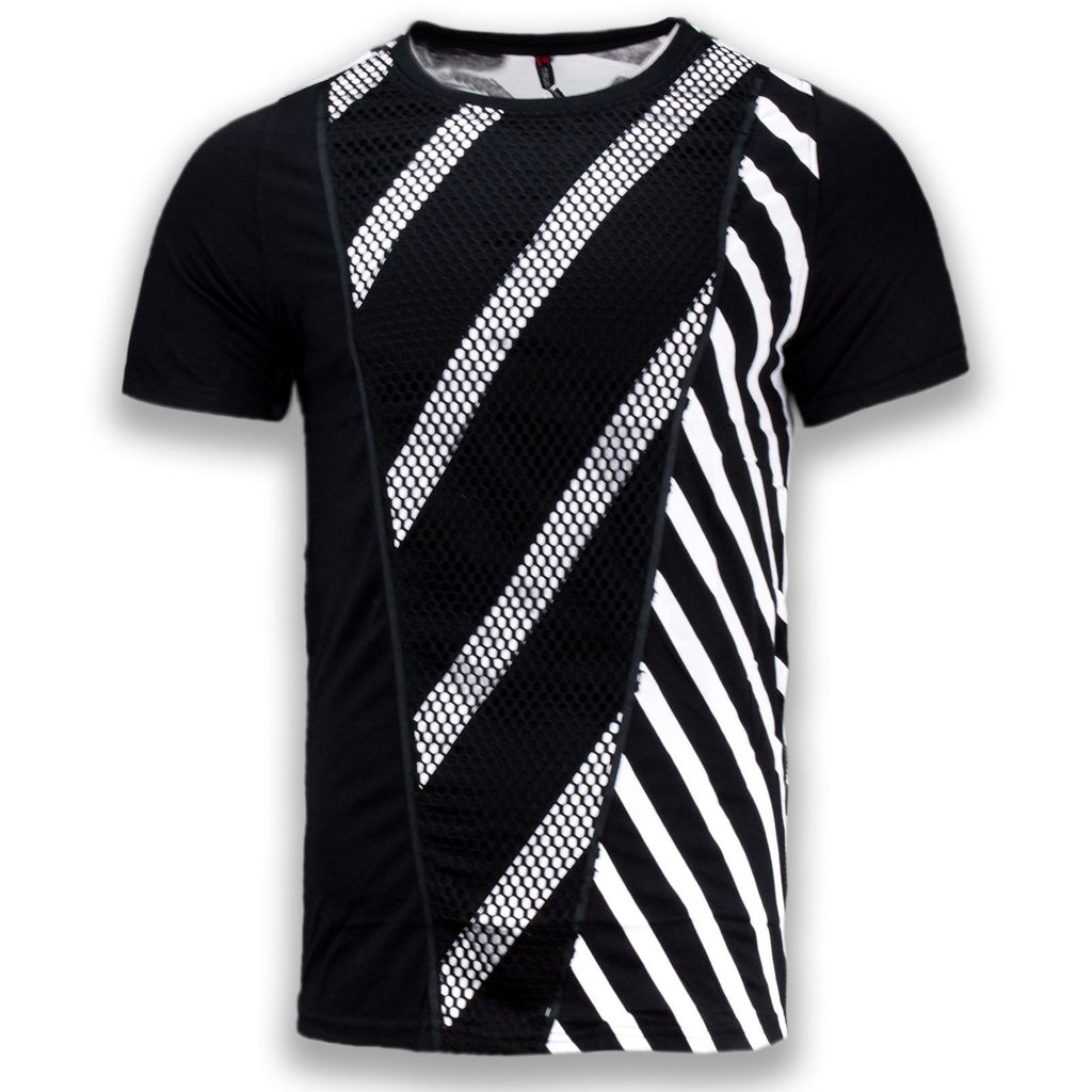 NEW Men Fashion Mesh Striped Shirt Short Sleeve Sizes S-2XL Side Zipper Tailed