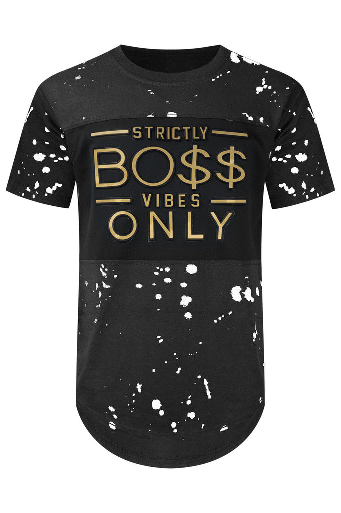 New Men Paint Splattered Longline Strictly Boss Vibes Only T-Shirt