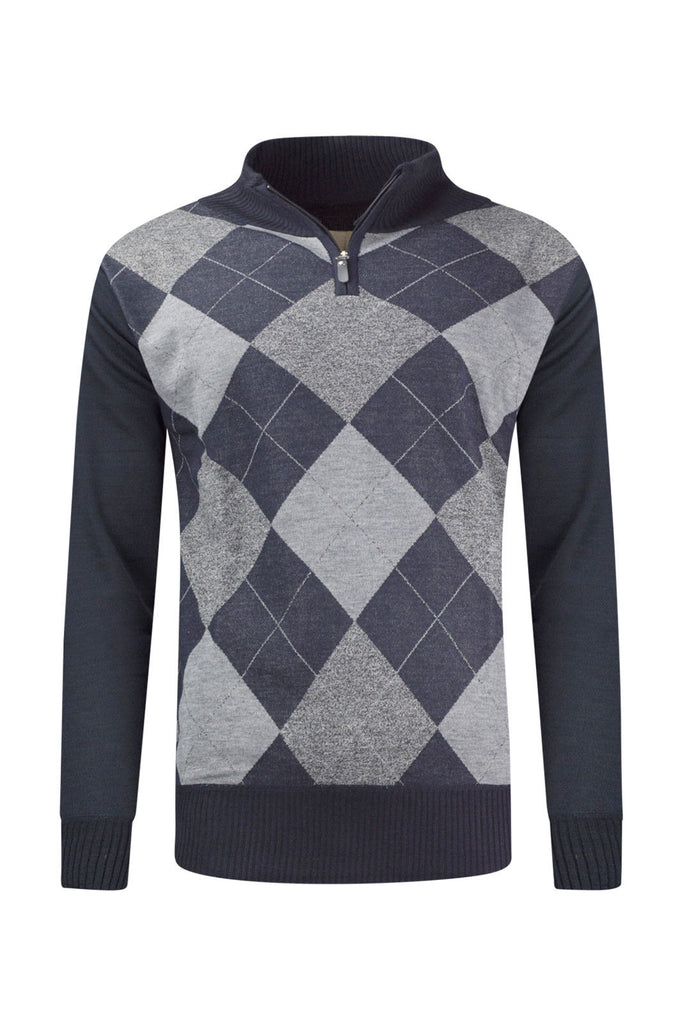 New Men Henley Diamond Theme Sweaters Slim Fit
