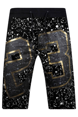 New Men Paint Splattered Fleece Shorts