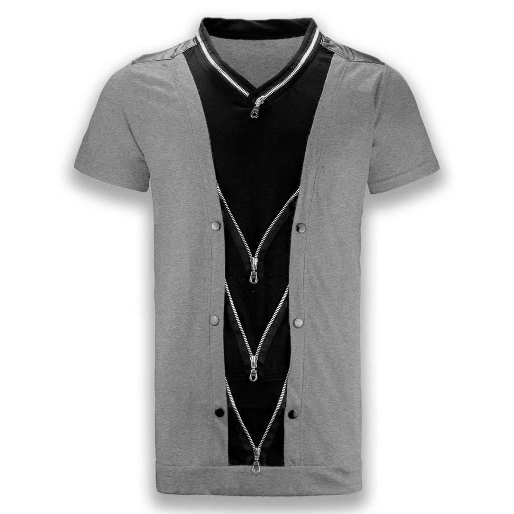 NEW Men Fashion Shirt Zippers Short Sleeve 4 Colors Sizes S-XL 2 Tone Shirts