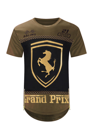 NEW Men Ferrari Shirt Side Zipper Longline Shirts 3D Gold Foil