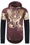 New Men Hooded Golden Eagle Long Sleeve Sweater
