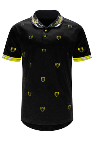 New Men Tiger Print Henley Polo