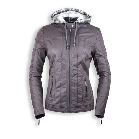 NEW Women Gray Hooded Leather Zip Up Jacket Pocket Hoody Long Sleeve