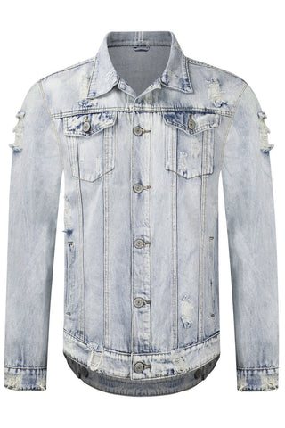 New Men Denim Ripped Checkered Button Jacket
