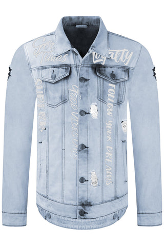 New Men Denim Distressed Button Up Jacket