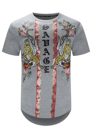 New Men Savage Lion Printed Longline T-Shirt