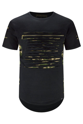 Camo Zip UP Chest Distressed T-Shirt