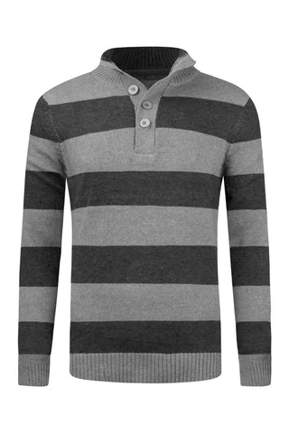 New Men Henley Long Sleeve Striped Sweater