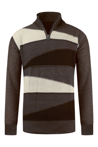 New Men Henley Sweater Zipper Pullover