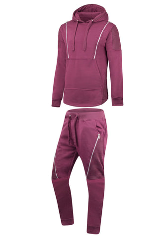 New Men Fleece Biker Zipper Tracksuit