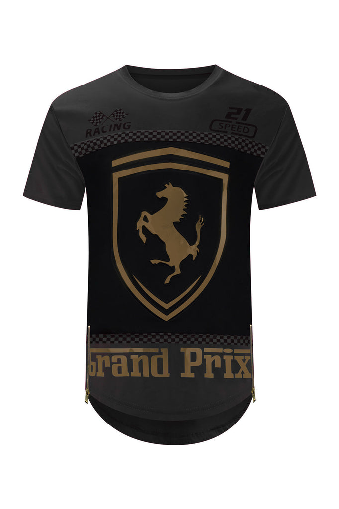 NEW Men Ferrari Shirt Side Zipper Longline Shirts 3D Gold Foil 4 Colors S-2XL
