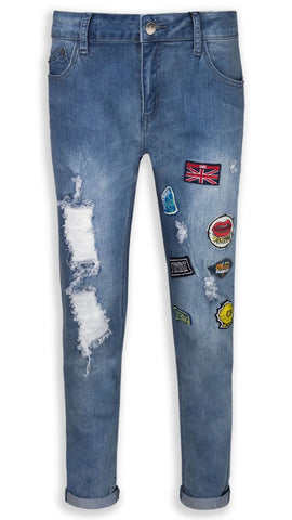 NEW Women Ladies Mid Waist Jeans Blue Patched ALL SIZES Patches Ripped Rip