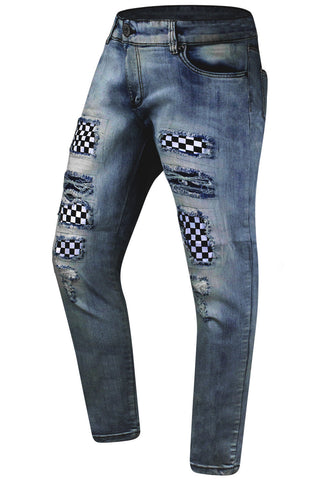 New Men Ripped Checkered Printed Premium Denim Jeans